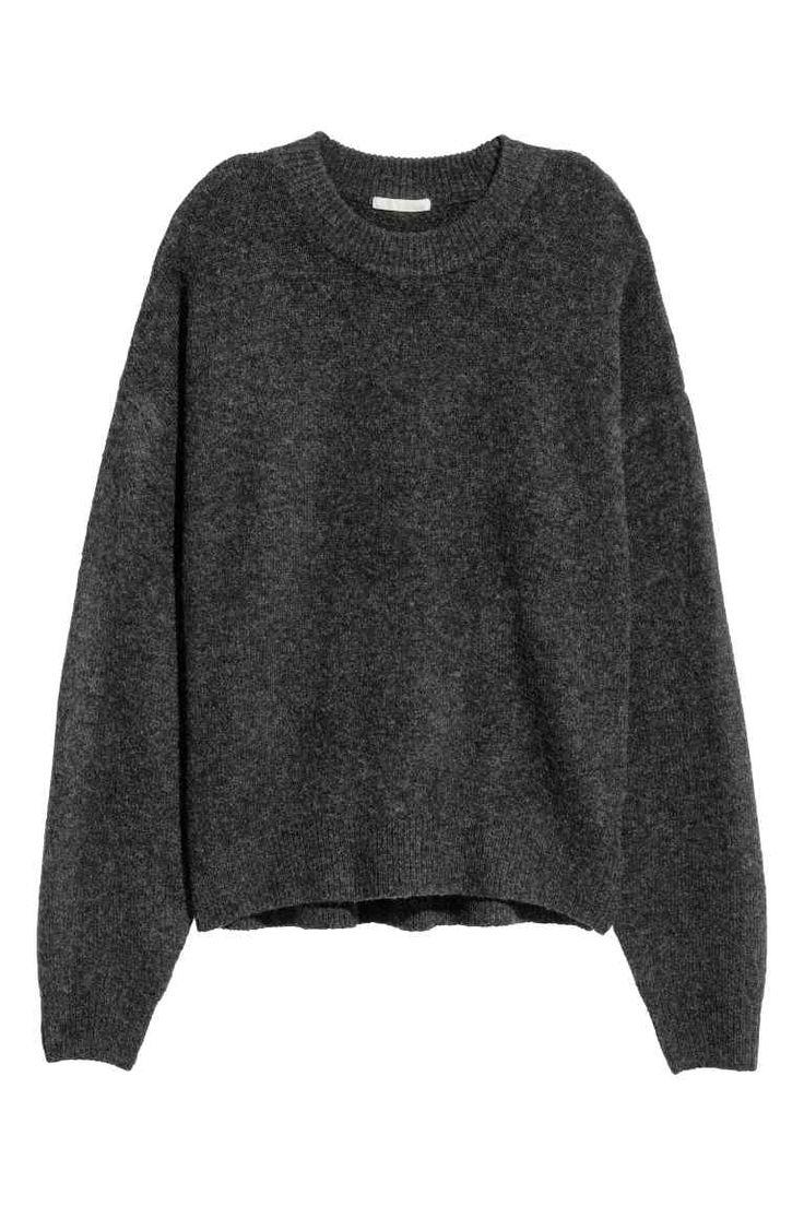 Джемпер тонкой вязки - Темно-серый меланж - Женщины | H&M RU