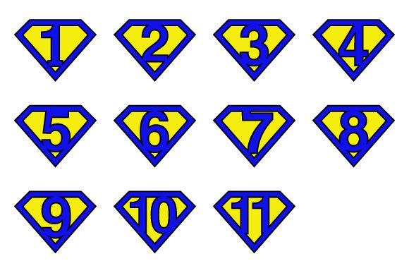 Super numbers v1 by stockimagefolio on Creative Market #Superman #numbers - royal blue