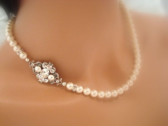 Bridal pearl necklace, vintage style necklace, Swarovski crystal and pearl necklace, wedding jewelry, ASHLYN