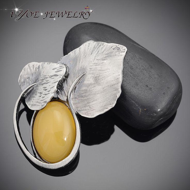 Ретро стиль желтый Natral камень броши кулон антиквариата ювелирных изделий посеребренные старинные лист броши и булавки платье аксессуарыкупить в магазине IYOE JEWELRYнаAliExpress