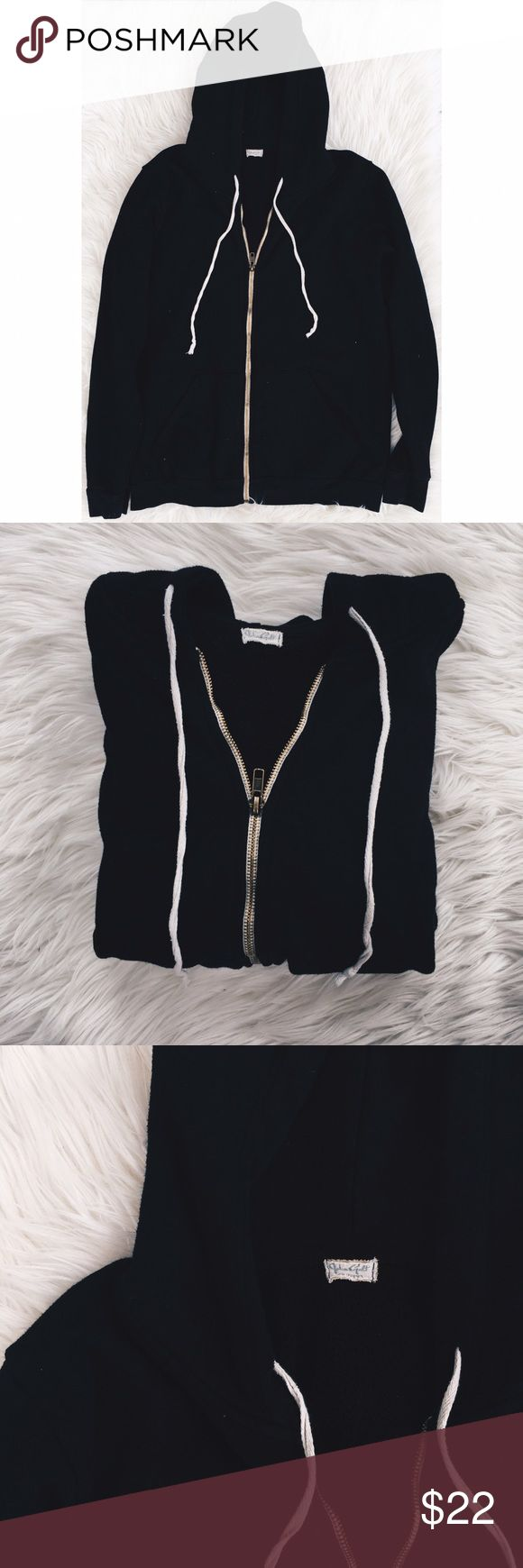 Black J. Galt Zip Up Sweater Brandy Melville Black zip up hoodie! No flaws. Very soft and warm! Brandy melville (JGALT). One size! Brandy Melville Sweaters