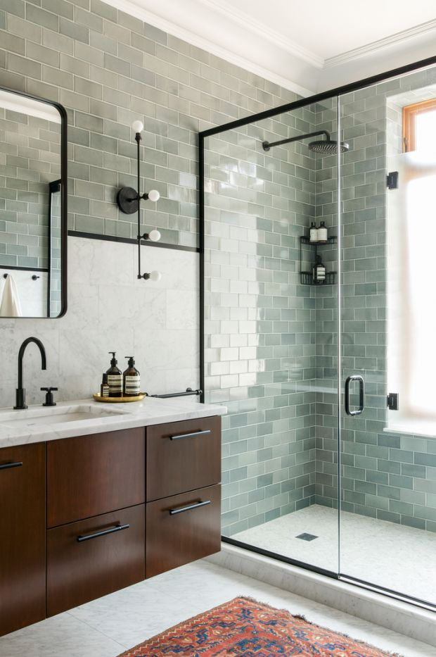 Grey-green and white bathroom with black accents. Black fixtures by Jason Wu for Brizo. Designed by Ensemble Architecture.