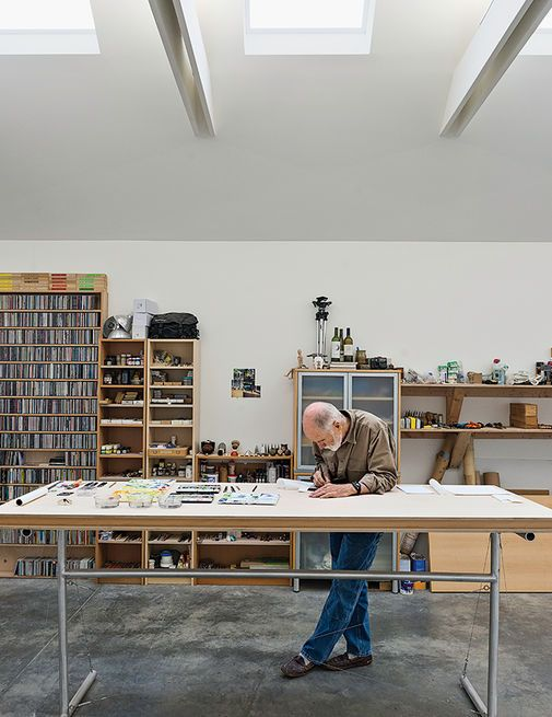 Artist Richard Brothers's workspace in his Orcas Island homeusesskylightsto let in sun. The lack of windows helps him focus on his craft.   Photo by Eirik Johnson.
