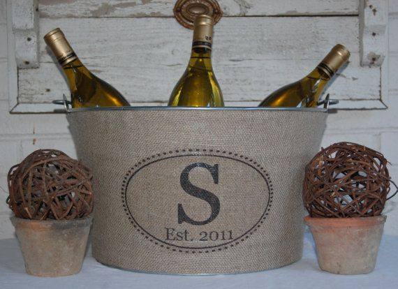 burlap covered ice bucket: Centerpiece, Wedding Ideas, Crafts Gift Ideas, Autumn Weddings Rustic, Donte Wedding, Erins Wedding, Weddings Rustic Vintage, Galvanized Wine, Wine Tubs