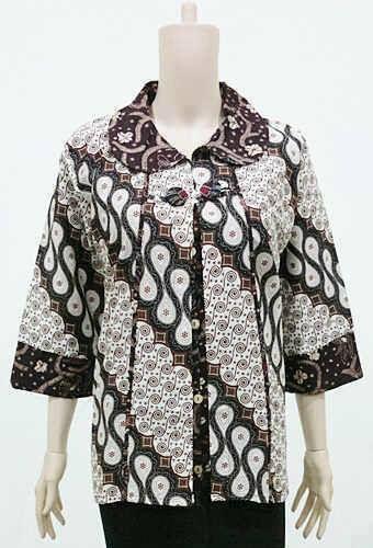 Baju Muslim Batik Wanita Terbaru Lengan Panjang