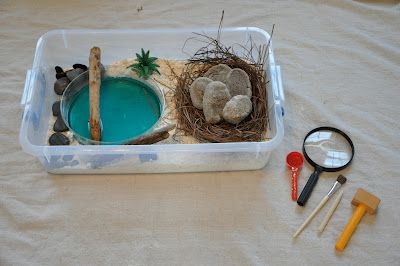 "Dinosaur discovery box with ""real"" dinosaur eggs.  Recipe to make your own eggs around small toy dinosaurs for your child to crack open and find!"