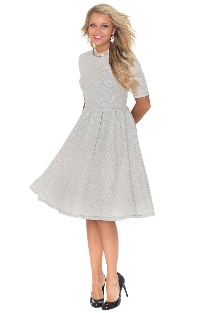 """""""Nicole"""" Modest Lace Dress in Silver   What an unusual and stunning color! Perfect for bridesmaids, prom or homecoming...would even work well for Easter Sunday!"""