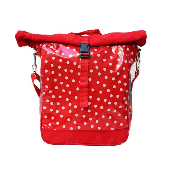 Waterproof Bicycle Bag Bike Panniers From Oilcloth Red With Polka