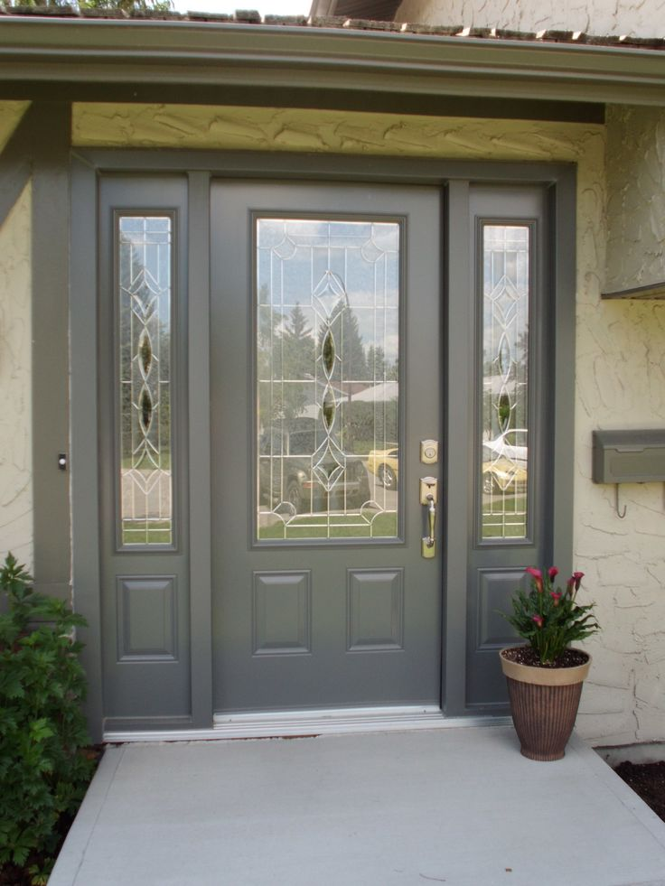 Melbourne glass insert by odl slate coloured single entry door with two sidelites doors Exterior doors installation calgary