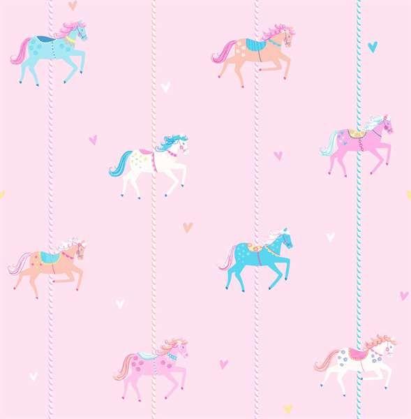 Carousel, Tapet, Heste, Lyserød