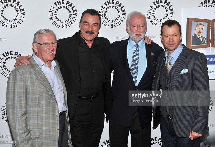 Len Cariou, actor Tom Selleck, Leonard Goldberg and actor Donnie Wahlberg attend the 'Blue Bloods' Screening at The Paley Center for Media on September 22, 2010 in New York City.