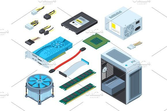 Illustrations Of Different Electronic Parts And Components For Computer Electronic Parts Computer Parts And Components Electronics