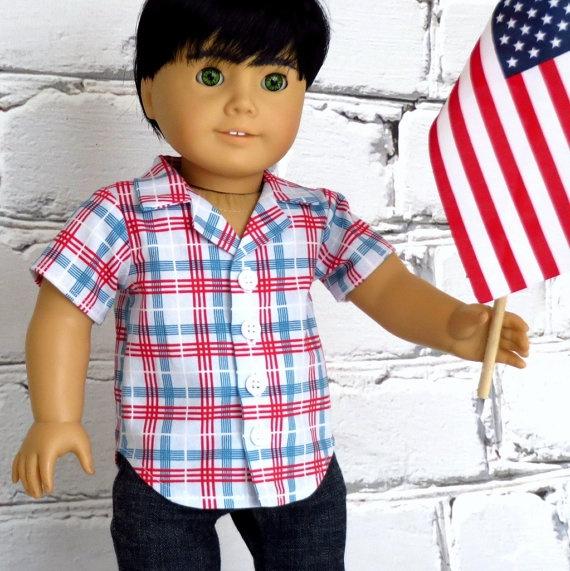 18 inch Boy Doll Red White Blue Plaid 4th of July Shirt - American Girl Doll Clothes via Etsy
