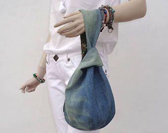 Borsa denim giapponese nodo borsa bracciale frizione mini