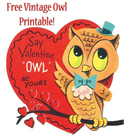 Free Printable Vintage Valentines!  This site is everything owl so if you love owls @Brenda Wegner go see!  #craft #kids #make