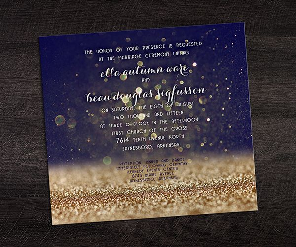 Metallic Gold Ink and Midnight Blue Wedding Invitation - Wedding Color Predictions for 2016 | Smartpress.com