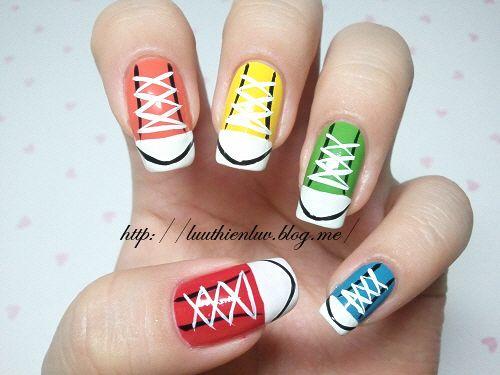 colorful sneakers nailart  click through for tutorial (in my korean blog)