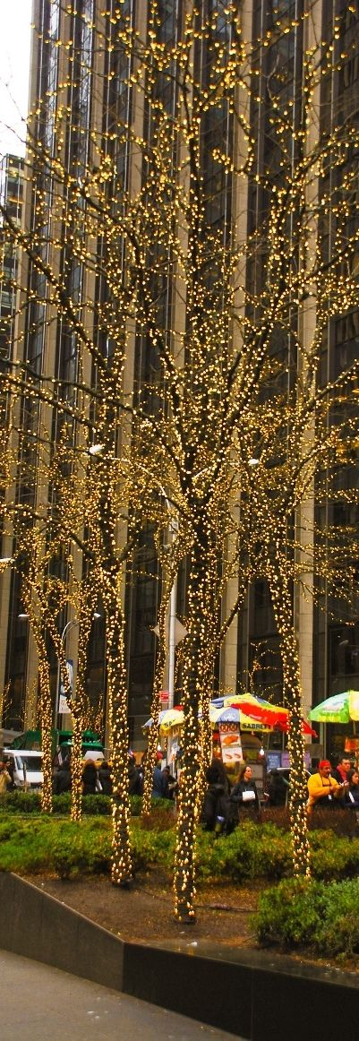 Christmas Holiday lights in Midtown Manhattan, New York City, NYC in December.
