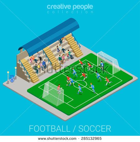#Tribune and #football #field in #flat #vector #isometric