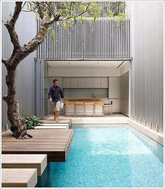 25 melhores ideias sobre piscinas interiores no pinterest for Patio chico con pileta