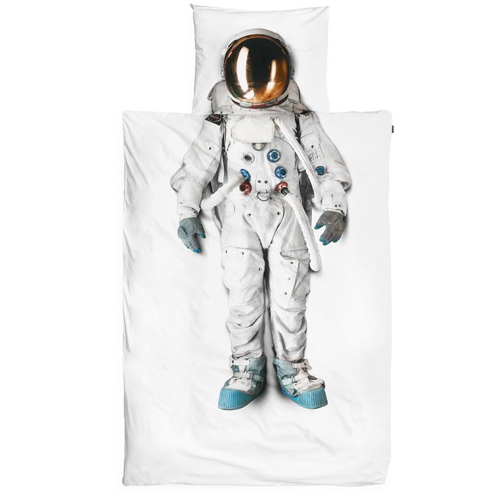 White duvet Astronaut Single - Snurk beddengoed - BijzonderMOOI* Dutch design online