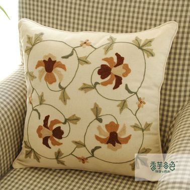 Orchid Embroidery Pillow