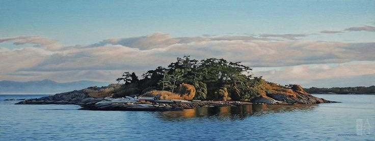 Ron Parker - Flower Island - oil on canvas - 16 x 36