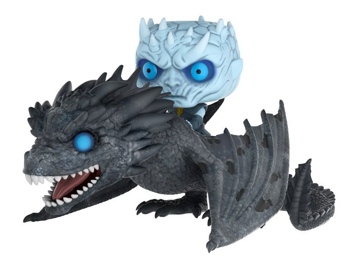 Pop! Rides: Game of Thrones - Night King on DragonThe terrifying Night King sits astride the resurrected dragonViserion as they charge into Westeros.Funko brings the Night King and Viserion to Pop! with glowingblue eyes, the tattered wings of an undead dragonand an all-new frosty coloring.The Seven Kingdoms have never seen somethingso frightening, and neither has your collection.Coming this Winter!
