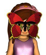 Karnevalsmasken für Schmetterling, Vogel, Schwein und Kuh