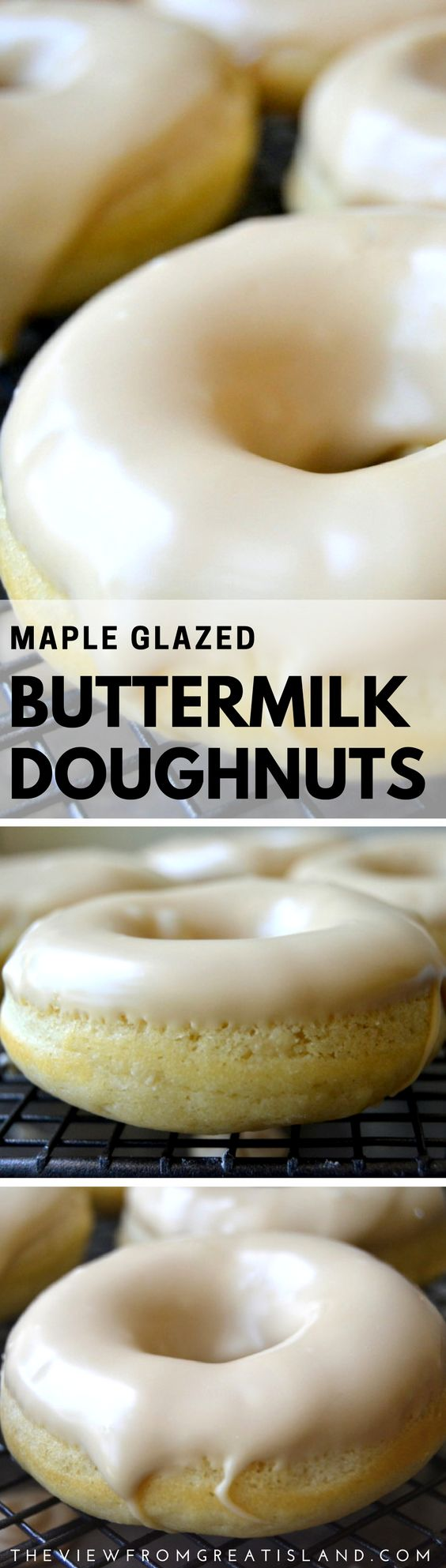 One-Bowl Maple Glazed Buttermilk Doughnuts ~ the best invention since sliced bread! These super easy baked doughnuts are so much healthier than traditional deep fried, too, so go ahead, indulge! #doughnuts #mapleglaze #buttermilkdoughnuts #homemadedoughnuts #bakeddoughnuts #maple #dessert #breakfast #sweet
