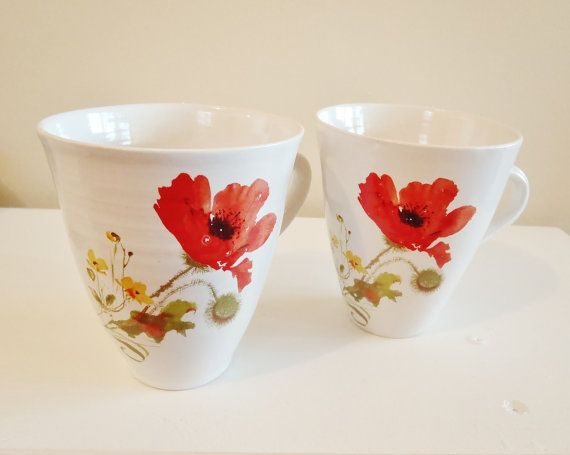 Hand thrown ceramic cup/mug with red poppy by kelverum on Etsy, $37.00