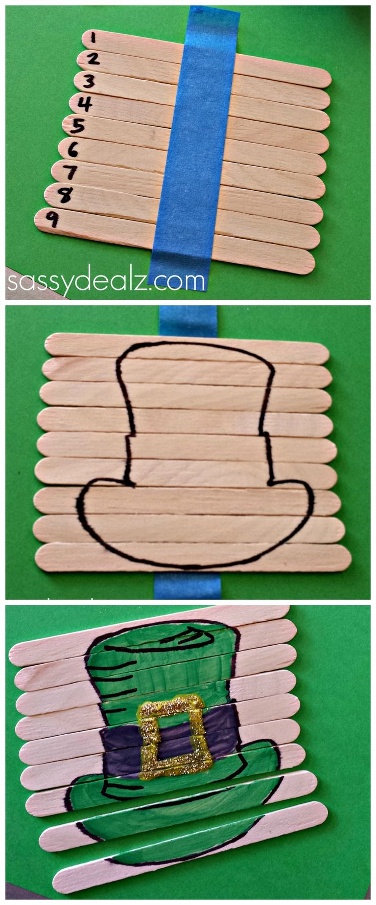 Leprechaun Hat Popsicle Stick Puzzle for St Patricks Day! #Kids activity #DIY | CraftyMorning.com