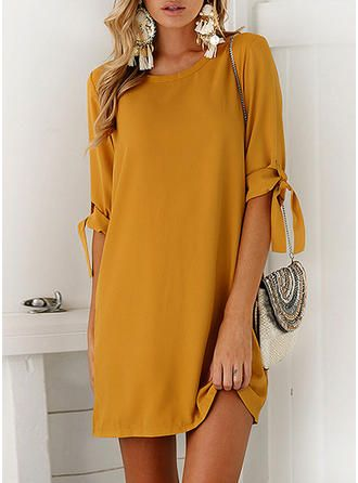 VERYVOGA Solid 1/2 Sleeves Shift Above Knee Casual Dresses