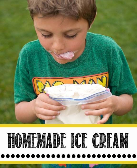 Easy Ice cream in baggies that takes only 5 minutes,. Easy enough for a 4 year old to do. Great cool off activity in the summer!