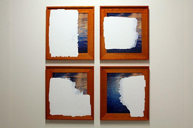 Mandla Reuter; Wells; 2012. Cherry wood, glass, chromogenic print, chalk; 61 x 55 cm each. Galerie Mezzanin.
