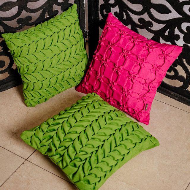 Smocked pillows. Handmade throw pillow