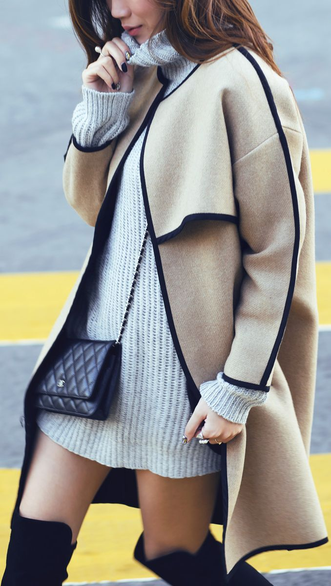 Camel And Black Aesthetic Coat by Tsangtastic