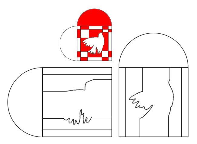 Skabelon: flettet julehjerte med due