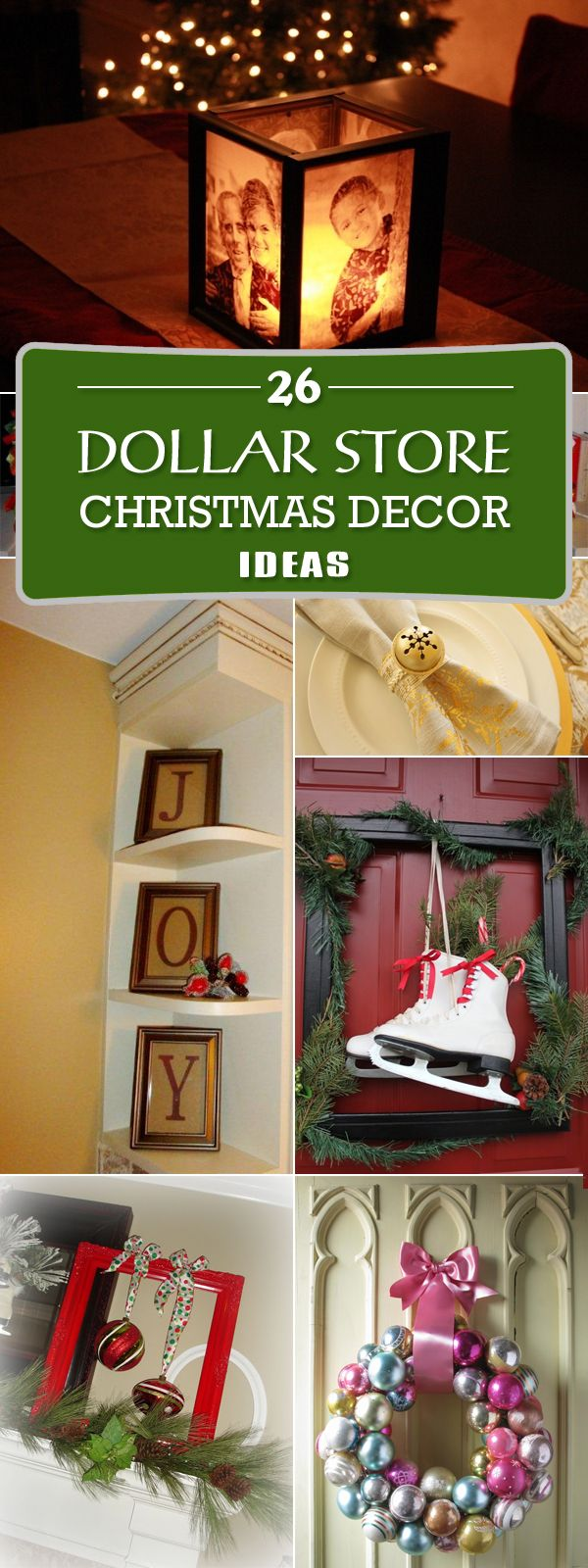Here's amazing collection of inspiration to help you create pretty Christmas decor from a few simple dollar store items.