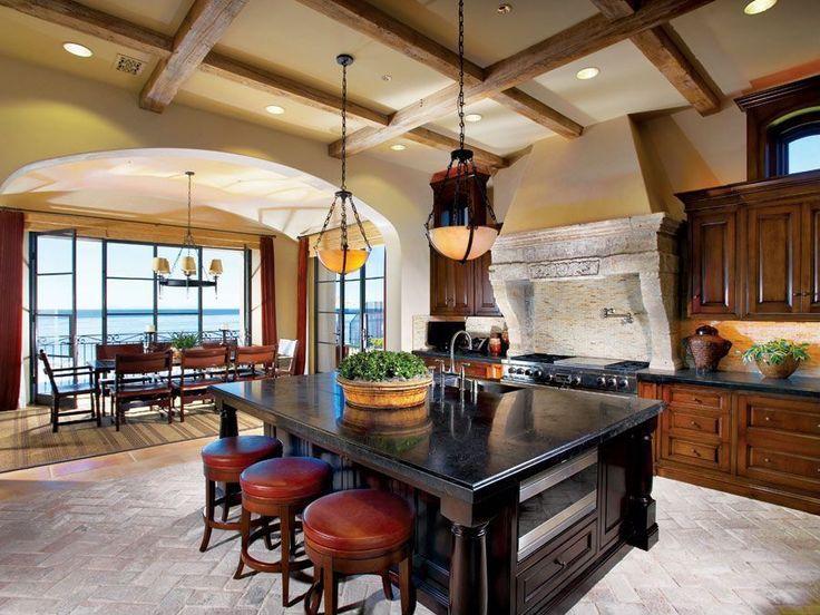 Craftsman Kitchen with Soapstone counters, Breakfast bar, Breakfast nook, Pendant Light, Chandelier, Undermount Sink