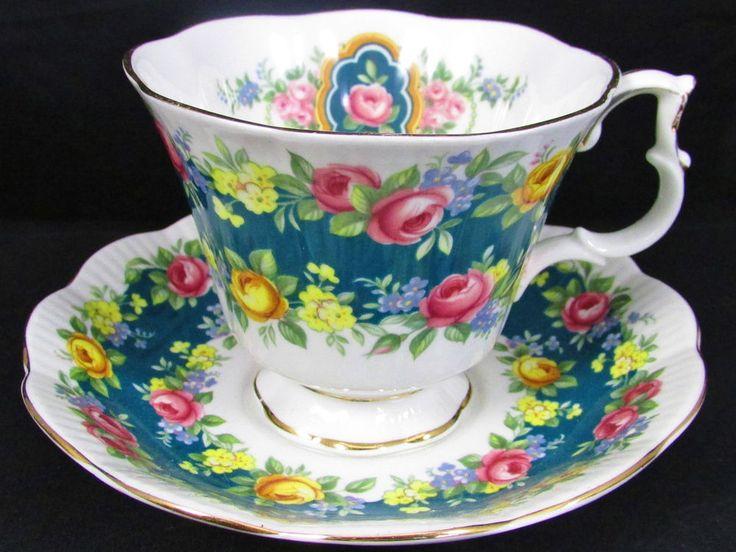 ROYAL ALBERT GARLAND SERIES SENSATION TEAL TEA CUP AND SAUCER #RoyalAlbert