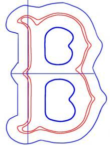 how to draw the boston red sox logo step 3