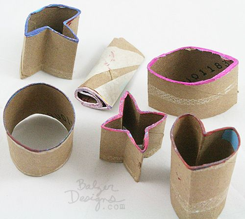 """Balzer Designs: So you know that I love empty toilet paper tubes.  I use them all the time.  But you don't have to leave them """"as is.""""  The soft cardboard is easy to form into lots of different shapes!  I was super thrifty and cut my toilet paper tubes into smaller chunks in order to create six unique stamps."""