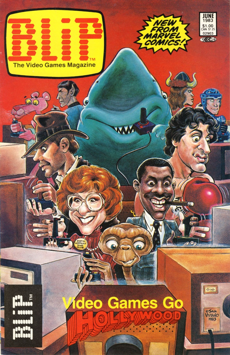 BLIP Gaming Magazine, featuring MAD magazine like cover artwork, depicting 1980s celebrities.