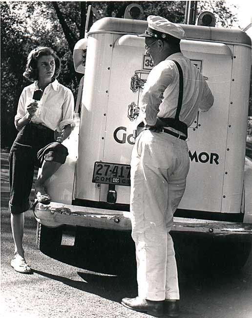 The Good Humor , ice cream man. Does anyone remember the little bikes with dry ice freezers attached and the little boys would peddle them all over town? I lived by Riverview Park and would peddle that bike to the lakefront to sell ice cream.