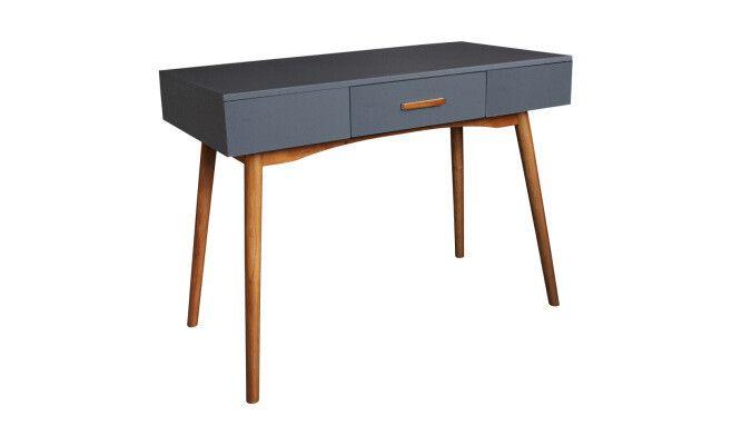 """Bureau 1 tiroir """"Sixties""""  gris  100 x 48 x 74 cm"""