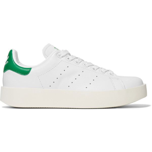 adidas Originals Stan Smith Bold leather sneakers ($110) ❤ liked on Polyvore featuring shoes, sneakers, white, lace up sneakers, white sneakers, platform shoes, white tennis sneakers and leather sneakers