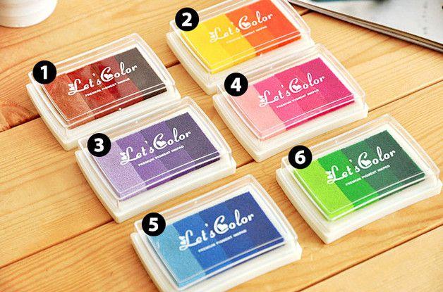 **Stempelkissen für Fingerabdrucke oder Stempel**  Ihr erhaltet **ein** Stempelkissen bestehend aus **einer** Farbnuance (4 Farben).  - **hell-braun bis dunkel-braun**  - **gelb bis...