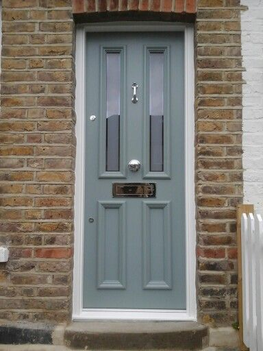 Victorian front door, painted in farrow and ball blue grey. Made with accoya timber, great result!
