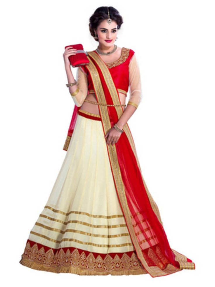 Buy cream lehenga from Mirraw